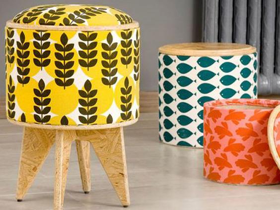 Pomada Design sgabelli di carta e tessuto